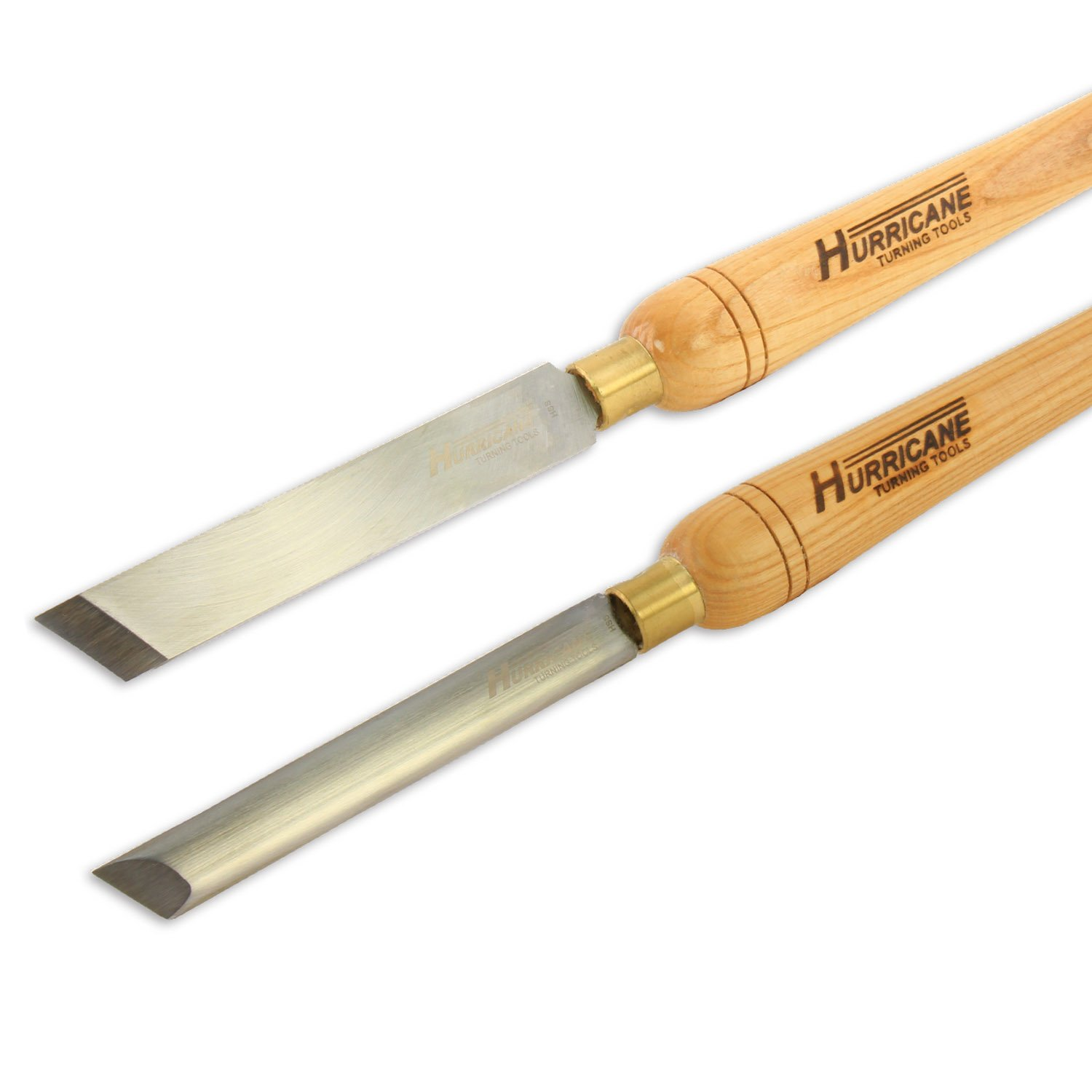 Hurricane Turning Tools, Woodturning Two Piece Skew Chisel Set, 1 Inches Standard Skew Chisel and 3/4 Inches Oval Skew Chisel, High Speed Steel