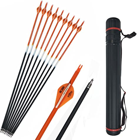 """12x Archery Mix Carbon Arrows 31/"""" Spine 350 Hunting Target Compound Recurve Bow"""