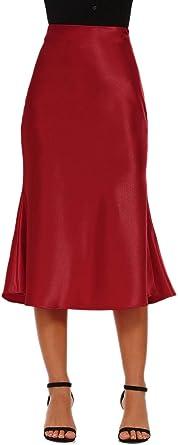 Alcea Rosea Womens High Waist Midi Skirt Fishtail Silky Satin Skirt Work Party Pencil Bias Cutting Skirt