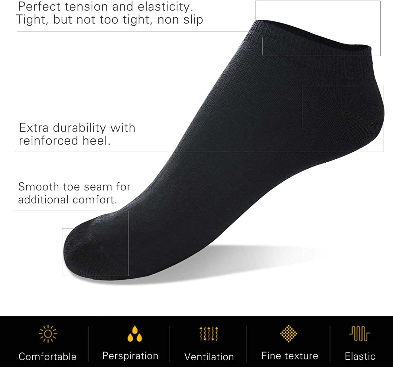 Cotton Trainer Socks for Men and Women CALZE YTLI 6 Pairs Sports Socks