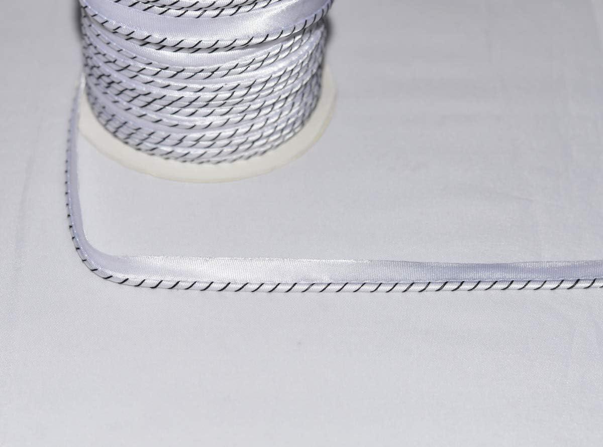 Passepoil Satin Bleu Marine Rayé Blanc au mètre 11 mm