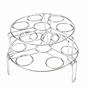 fuumuui 2-Pack Egg Steamer Rack Trivet, Stainless Steel Steaming Rack,Multipurpose Cooking Holder,Food Basket,Pot Stand Rack on Kitchen for Pressure Cooker Accessories