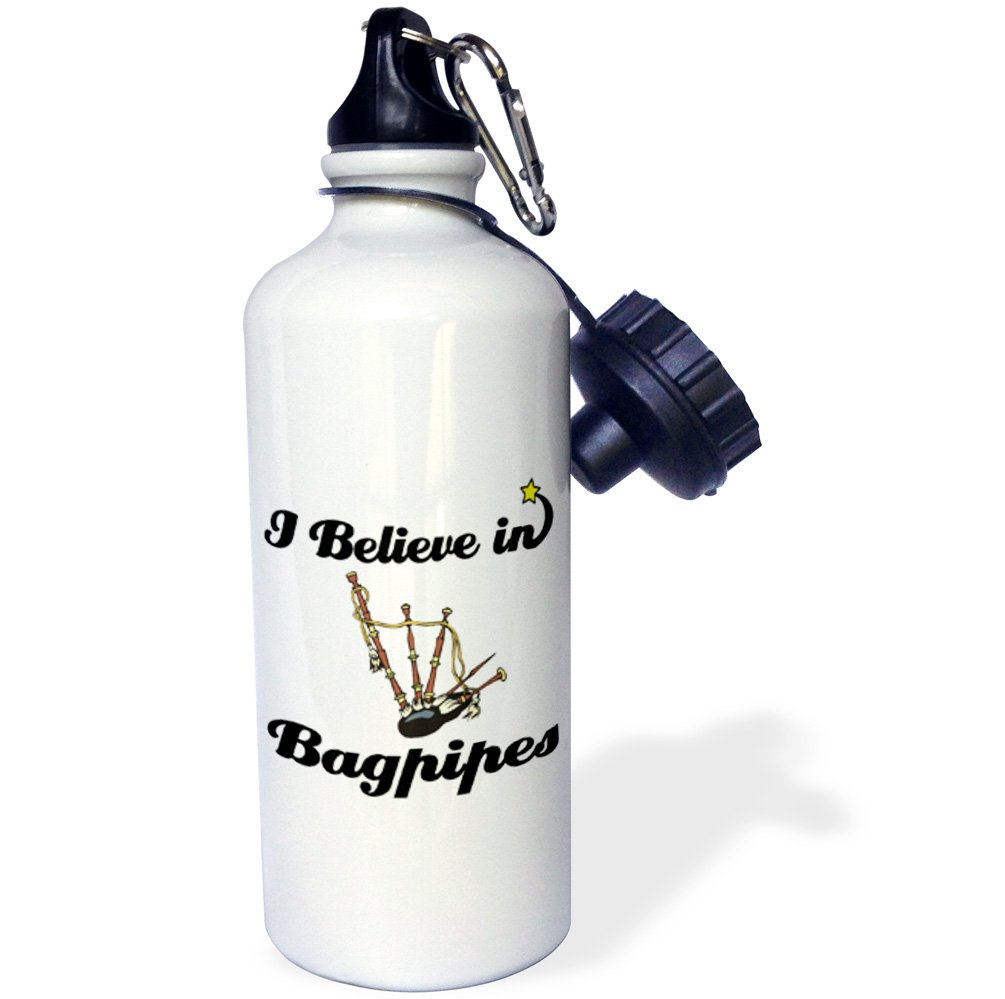 3dRose wb/_104755/_1I Believe In Bagpipes Sports Water Bottle 21 oz White
