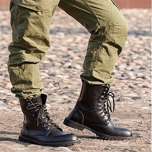 DUODUO 2601 Leather Men's Genuine Boots Black Combat rrxzp0