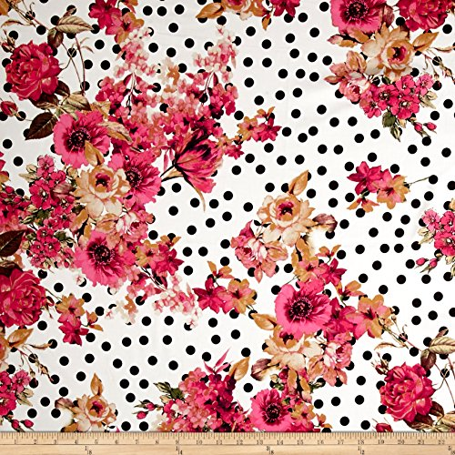 Telio Bloom Stretch Cotton Sateen Flower and Dots Print Pink Fabric By The Yard (Cotton Stretch Sateen Fabric)