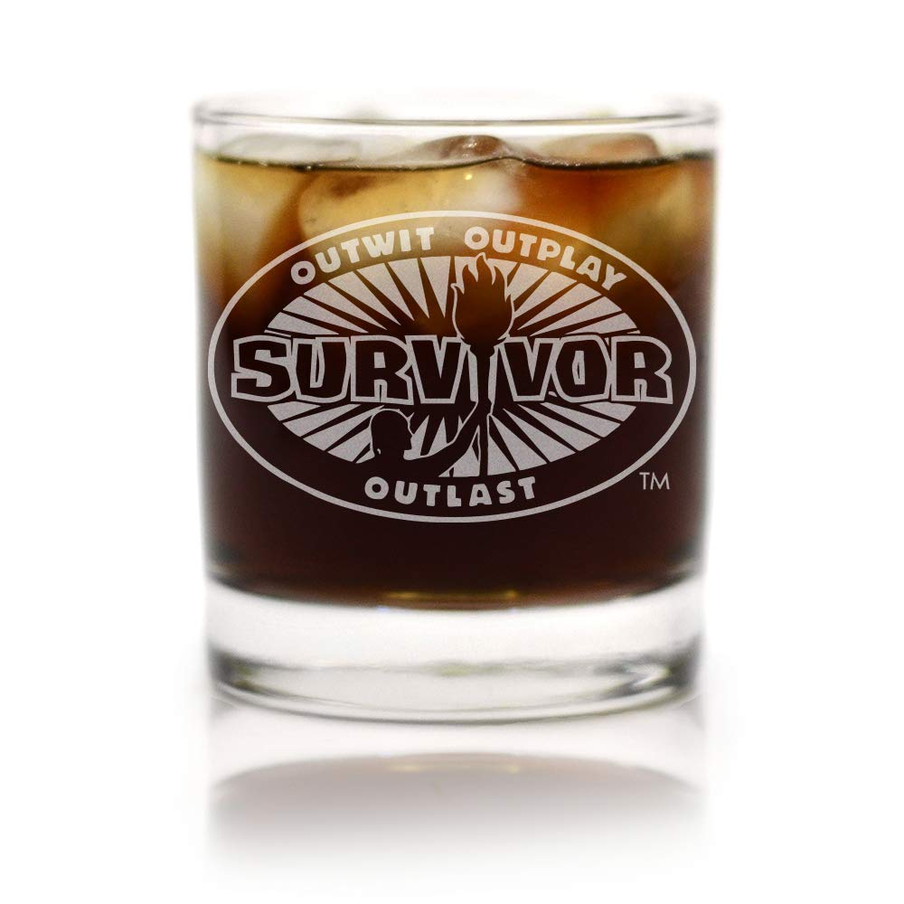 Movies On Glass Premium Etched Survivor TV Show Engraved Logo Whiskey Glass 11 Ounces