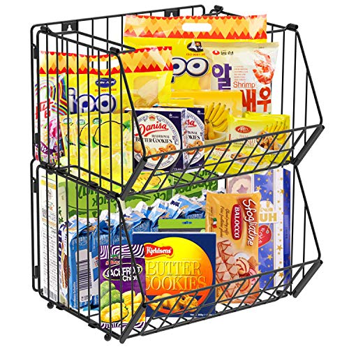 Auledio Stackable Baskets Organizer, Wall Mounted Hanging Wire Baskets,Vertical Fruit or Produce Bathroom Storage Pantry…