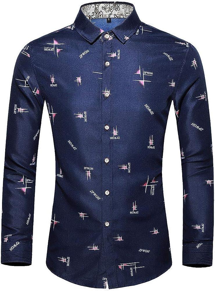 AOGOTO - Camiseta de Manga Larga para Hombre, diseño Informal, de Moda, Siete Puntos, M-6L Azul Marino M: Amazon.es: Ropa y accesorios