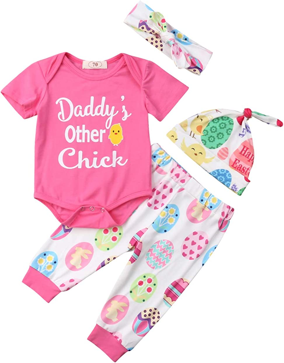 Baby Girl Easter Outfit 4 Pcs Set Daddy's Other Chick Romper Pant Headband Cap