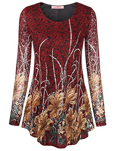 Slivexy Womens Long Sleeve Floral Lace Round Neck A Line Tunic Tops X Large Red 1