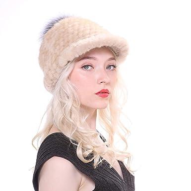 669799316598 URSFUR Bonnet Casquette Unisexe Fourrure De Vison de Baseball Femmes  d hiver Chaud avec Pompon