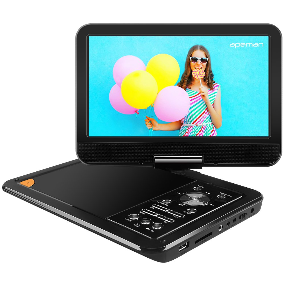 APEMAN 9.5'' Portable DVD Player with Swivel Screen Remote Control Support SD Card USB DVD AV in/Out Earphone Speaker 5 Hours Built-in Rechargeable Battery for TV Kids Car Travel Companion