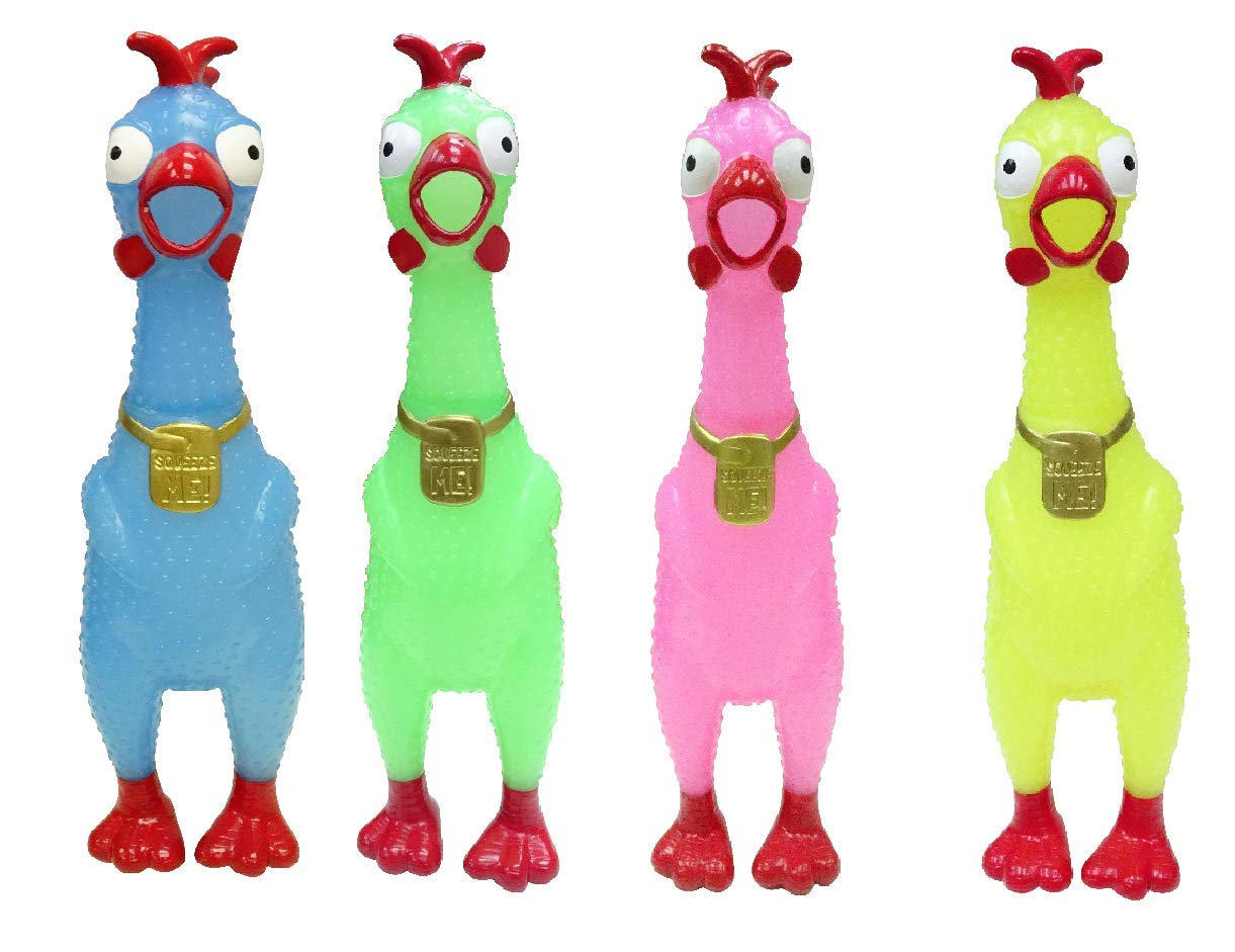Animolds Squeeze Me Rubber Chicken Toy   Screaming Rubber Chickens for Kids   Novelty Squeaky Toy Chicken (Glow in The Dark 4 Pack)