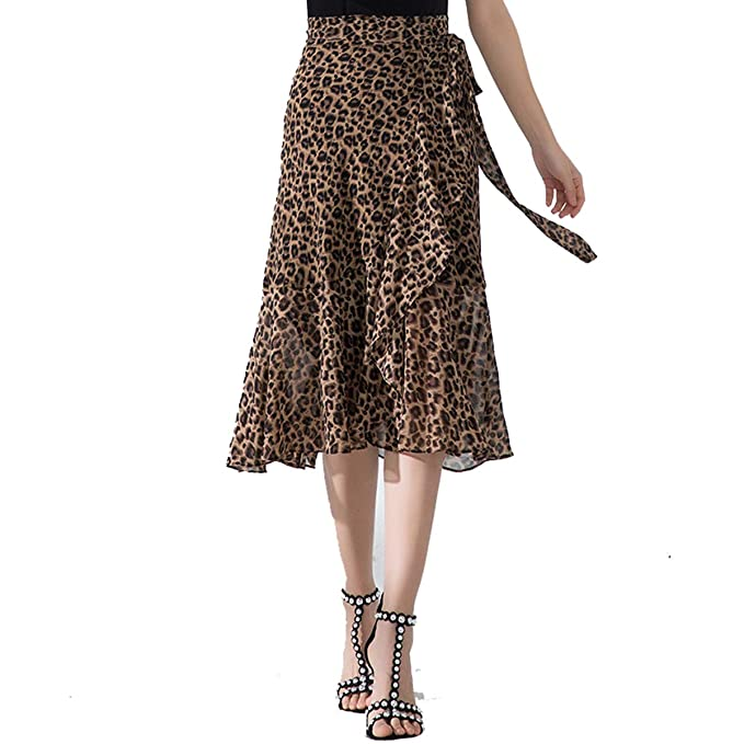 8024f81da96020 Keasmto Leopard Midi Skirt Plus Size for Women High Waist Silk Satin ...