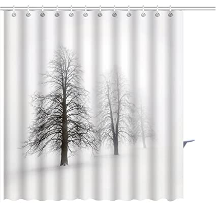 MuaToo Shower Curtain Foggy Moody Winter Scene With Leafless Trees Graphic Print Polyester Fabric Bathroom Decor