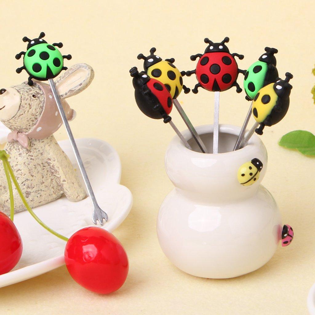 GROOMY Cute Ladybug Animal Fruit Fork Stainless Steel Children Snack Cake Dessert Pick