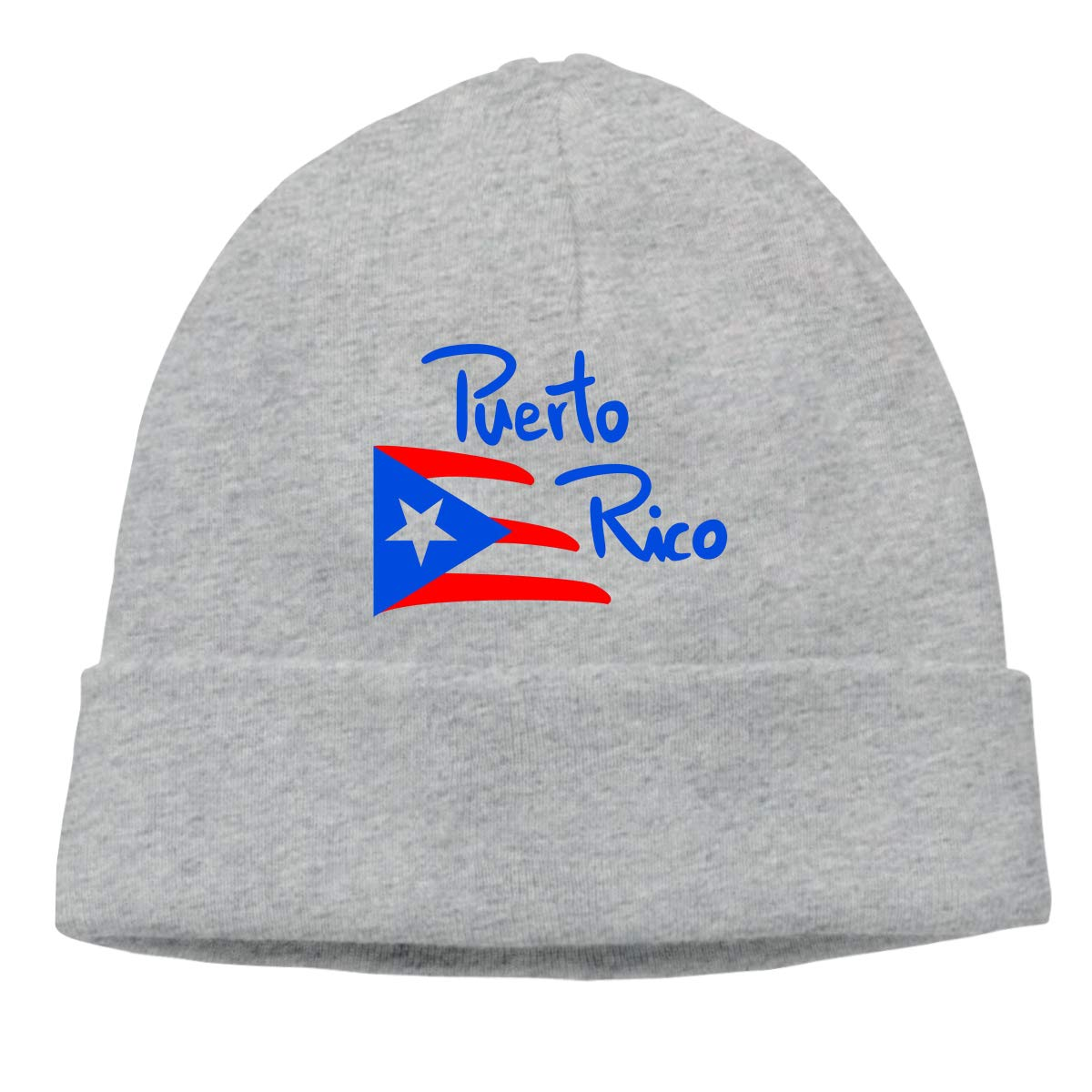 Puerto Rico Flag Logo Warm Stretchy Solid Daily Skull Cap Knit Wool Beanie Hat Outdoor Winter