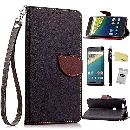 Nexus 6P Case,GX-LV(TM) Huawei Google Nexus 6P Book Style Card Slots Premium Leather Wallet Flip Wrist Strap Case Cover for Huawei Google Nexus 6P 2015 -Retail Packaging (Leaf Case - Black)