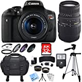 Canon EOS Rebel T6i DSLR Camera w/ 18-55mm and 70-300mm Lens Bundle includes Rebel T6i, 18-55mm Lens, 70-300mm Lens, 32GB SDHC Memory Cards, Bag, Tripod, Beach Camera Cloth and More
