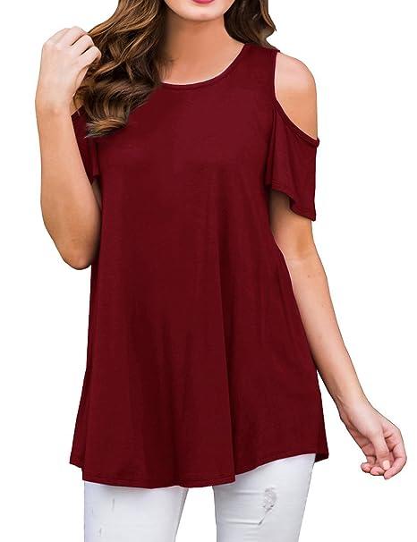 7bb16bcb350f62 ISASSY Womens Loose Strappy Cold Shoulder Tops Basic Short Sleeve T-Shirts   Amazon.co.uk  Clothing