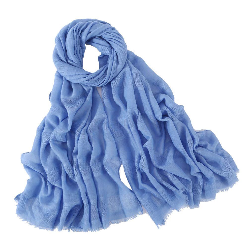 Gusspower-bufandas para Mujer Invierno Lino y Algodón Chal Manta Mantón Fular Pañuelo Color Puro Hueco con Borlas 190x90cm
