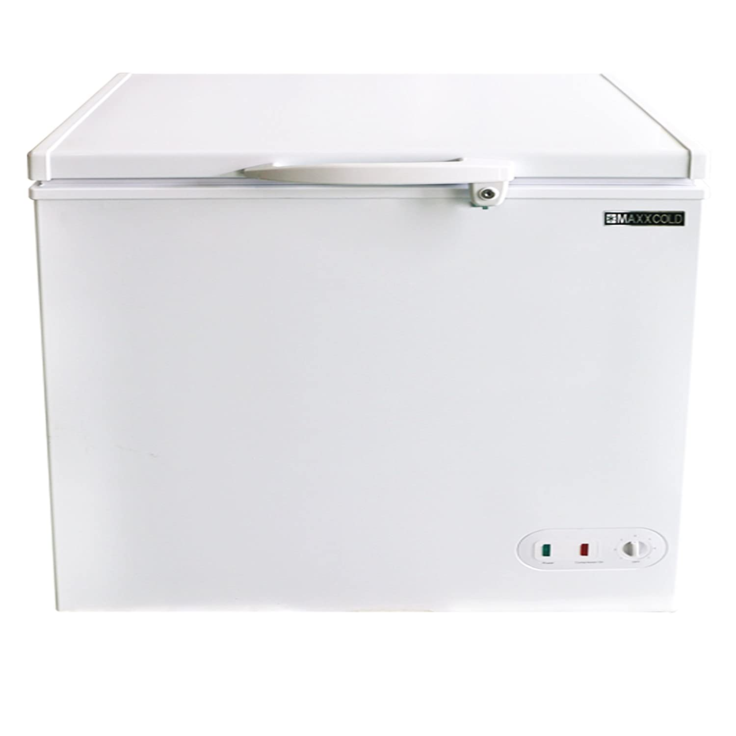 Maxx Cold 7 Cubic Feet 272 Liter Solid Hinged Top Sub Zero Commercial Chest Freezer with Locking Lid NSF Garage Ready Manual Defrost Keeps Frozen for 2 Days In Case of Power Outage, 37.8 In W, White