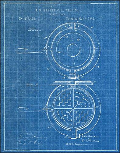 Waffle Iron 1883 Blueprint - Patent Art Print