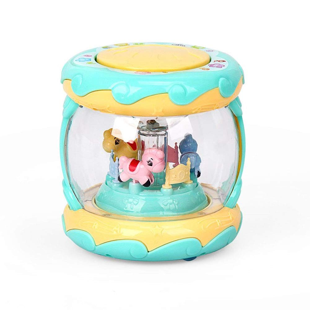 Baby Toy Drum Toddler and Baby Musical Activity Drum Toys Early Educational Toys for 1-5 Month Old Boys and Girls Baby Toys Carousel Hand Drum Random Color hou zhi liang
