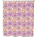 Flower Mandala Shower Curtain: Large Waterproof Luxurious Bathroom Design Woven Fabric