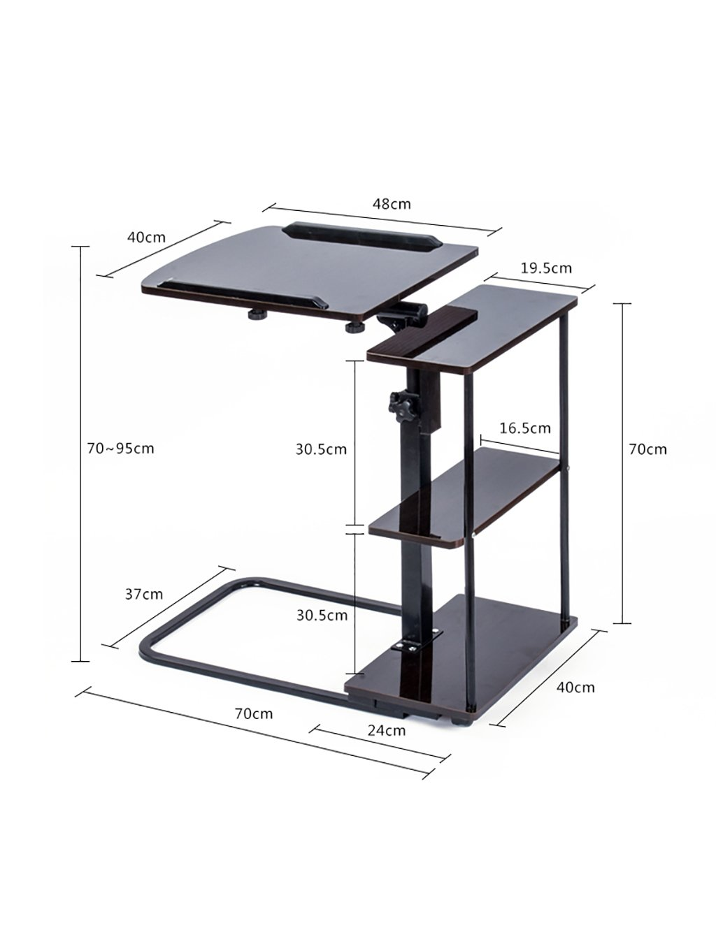 D LWH  704095cm HAIPENG Simple Foldable Laptop Desk Computer Desk with A Pulley Easy to Move (in 4 colors Optional) (color   D, Size   LWH  70  40  95cm)
