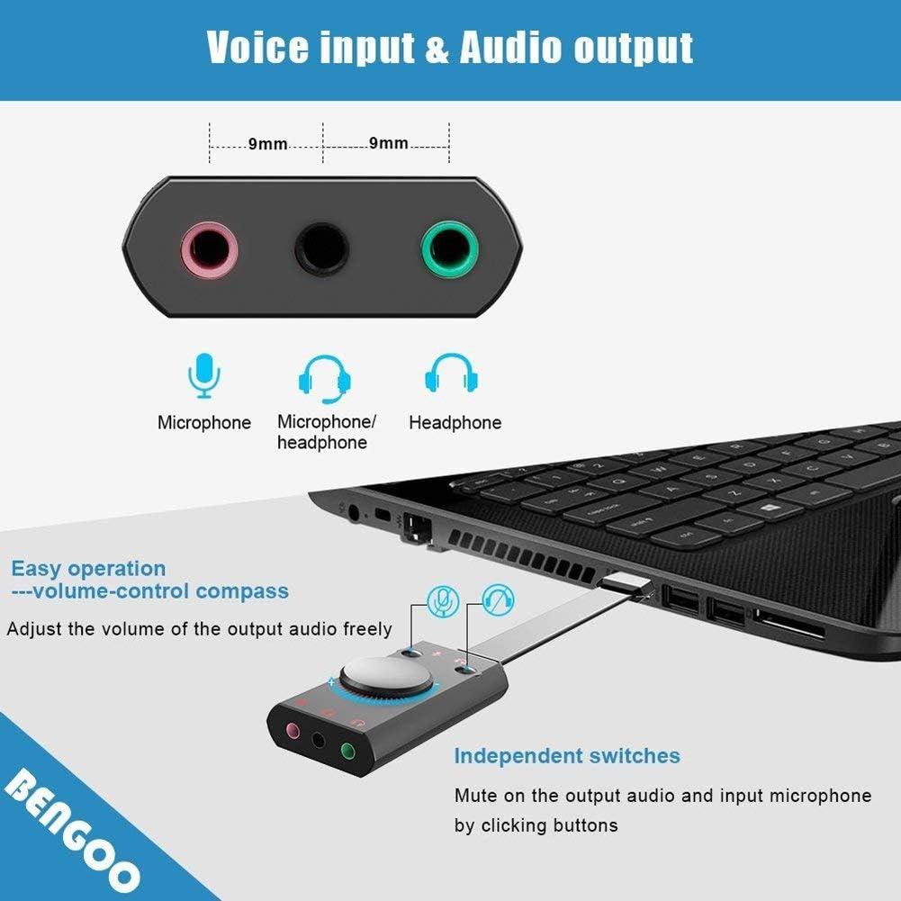 Einfach zu Verwenden Cherish USB Sound Karte Adapter Externe USB 2.0 Audio Stereo Sound Karte Konverter mit 3.5mm Aux f/ür Headset PC Laptop Desktop