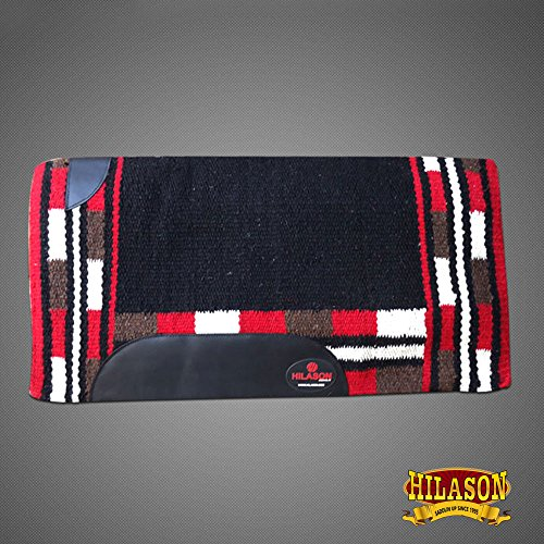 HILASON Show New Zealand Wool Saddle Blanket Western Black Crimson