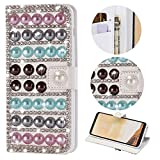 Stysen Galaxy A8 2018 Wallet Case,Galaxy A8 2018 Bling Flip Case,Luxury Premium Handmade 3D Jewelry Glitter Diamond Rhinestone Pearl Design Magnetic Closure PU Leather Shiny Sparkle Crystal Kickstand Folio Case with Card Slots Bookstyle Buckle Protective Skin Cover Case for Samsung Galaxy A8 2018-Pearl
