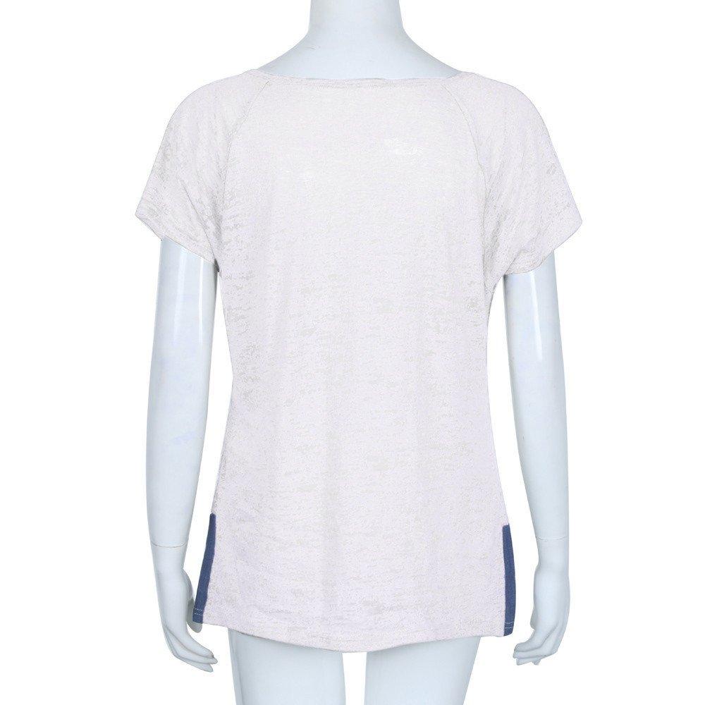 YanHoo Tops de Mujer Camiseta de Manga Corta con Botones para Mujer Las Mujeres de Manga Corta Suelta bot/ón Informal Blusa Camiseta Tank Tops Manga Larga Casual de Mujer