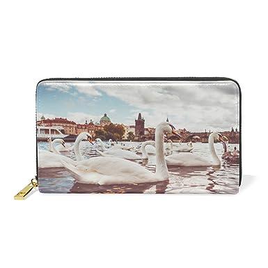 Amazon.com: Swan Laker - Monedero de piel con cremallera ...