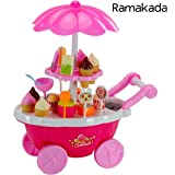 Ramakada Kids Choice Kid's Plastic Ice Cream and Sweet Marketing Cart with Music Role Pretend Play Toy