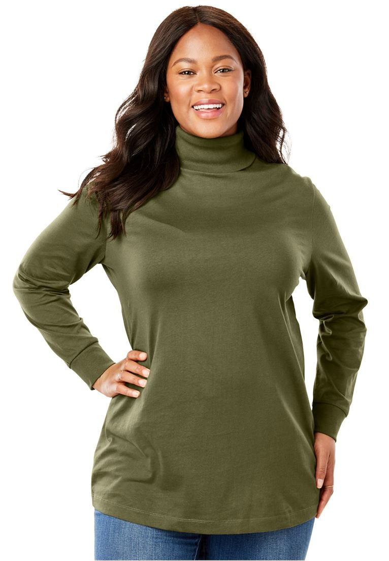 Women's Plus Size Petite Perfect Cotton Turtleneck