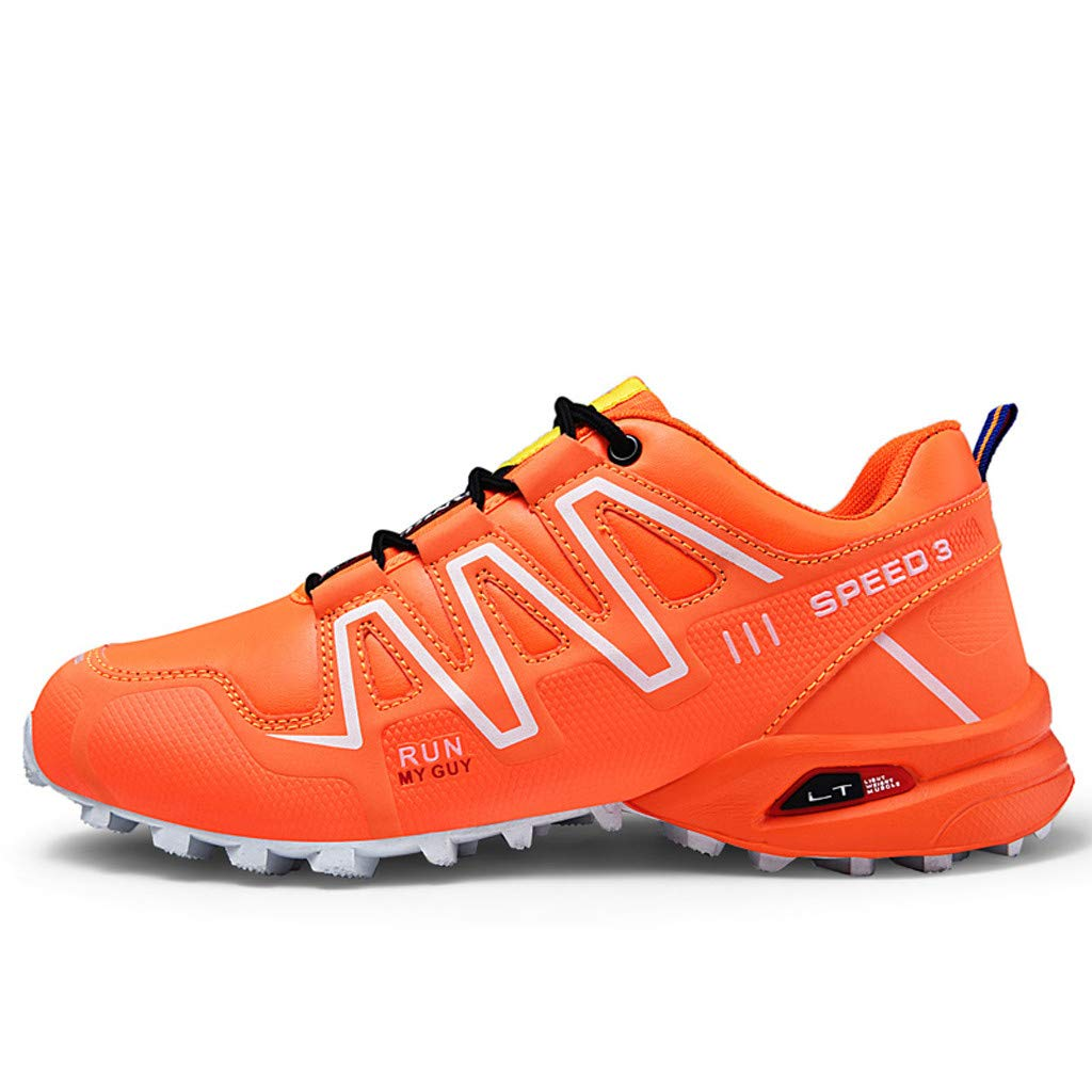 Respctful✿Hiking Shoes for Men Waterproof Slip On Blade Outdoor Sport Shoes Athletic Lace Up Men's Shoes Orange