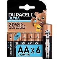 Duracell Ultra Alkalin AA Kalem Piller, 6'lı paket