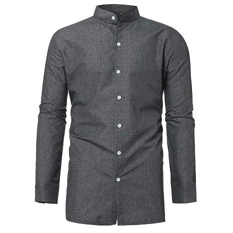 Amazon.com: Camisa de manga larga para hombre, cuello en V ...