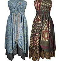 Mogul Interior Womens Skirt Dress Vintage Printed Silk Sari 2 In 1 Recycled Two Layer Sundresses Wholesale Lot Of 2