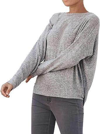 Ronamick Camisetas Invierno Mujer Fiesta Blusa Transparente Mujer Tops Mujer Verano Encaje Sexy Cuello Camisa (Gris,XL): Amazon.es: Hogar