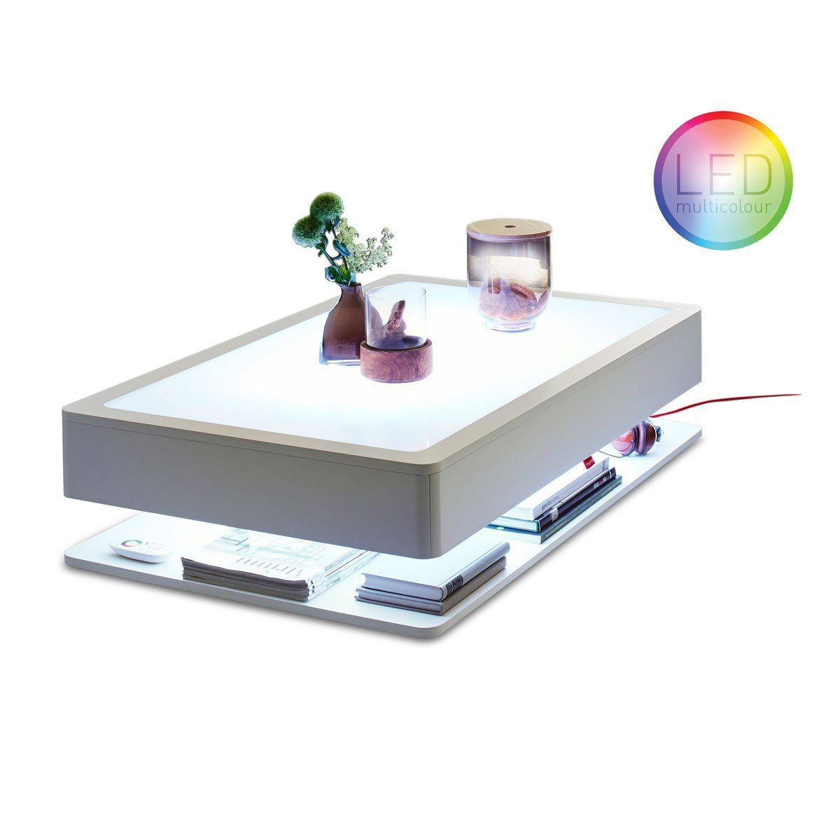 Moree Ltd. Ora HOME LED PRO Couchtisch, weiß alle RGB Farben Glasplatte 110x70x29cm Kabel rot mit Fernbedienung