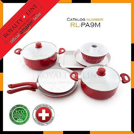 La línea de la realeza RL-PA9M mármol 9 piezas juego de utensilios de cocina