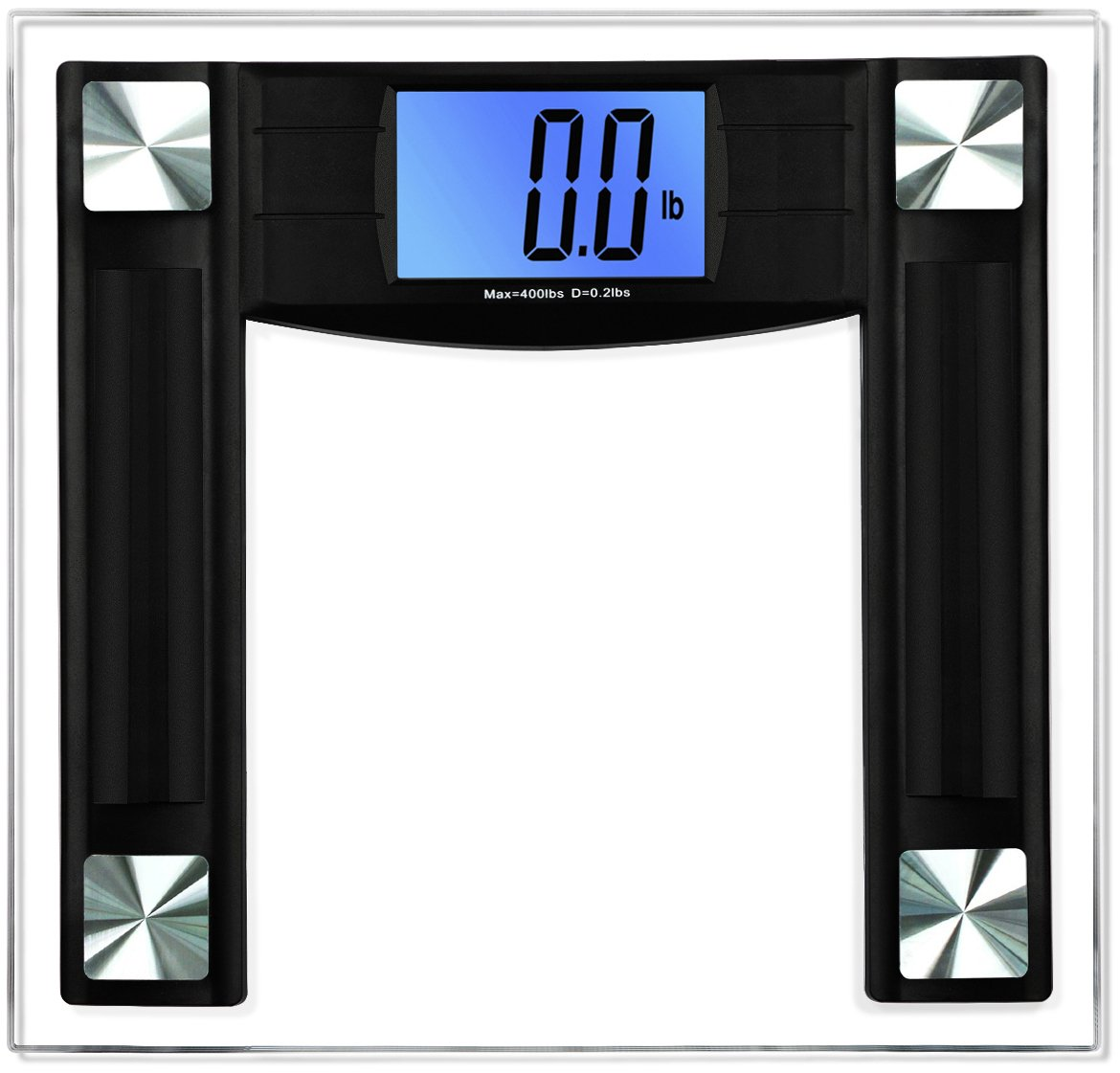 BalanceFrom High Accuracy Digital Bathroom Scale with 4.3'' Large Backlight Display and Step-on Technology, Black