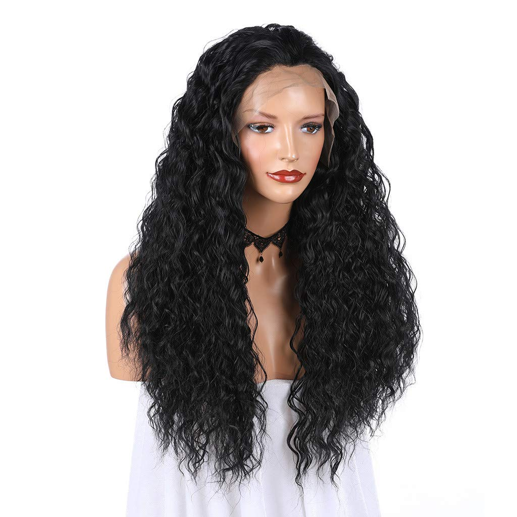 JYS Long Bob Lace Front Wig Synthetic Black Wig Glueless Wave Hair Heat Resistant Fibers Middle Parting 24 Inches for Ladies Cosplay Costume Halloween Party Hair Wig (Black) by JYS (Image #5)