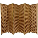 creative room dividers Oriental Furniture 6 ft. Tall Woven Fiber Room Divider - Two Tone Brown - 6 Panel