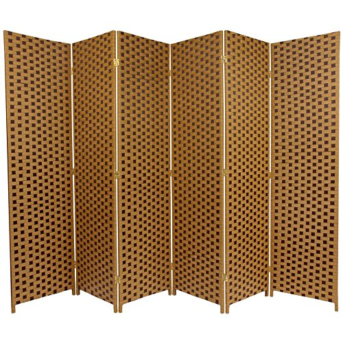 Oriental Furniture 6 ft. Tall Woven Fiber Room Divider - Two Tone Brown - 6 Panel