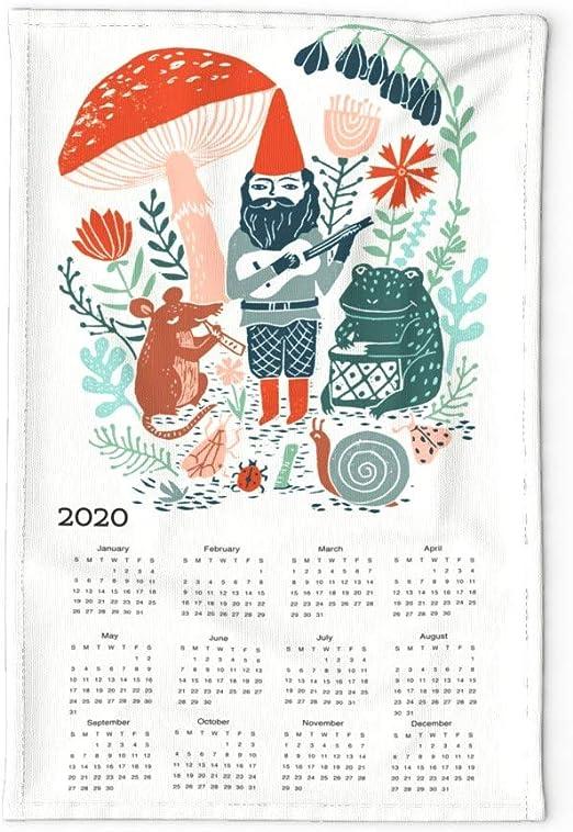 Spoonflower Tea Towel 2021 Calendar Vintage Farm Animals Pigs Goat Linen Cotton