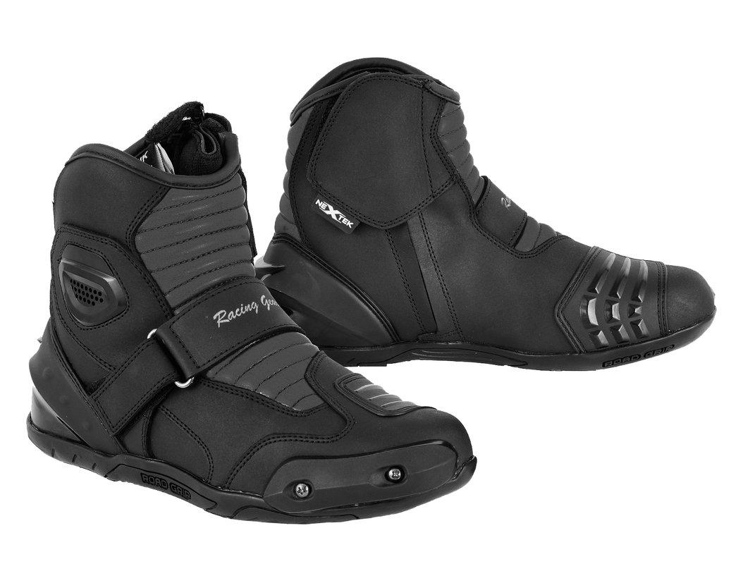 PROFIRST Nextek Genuine Leather Motorbike Armoured Boots Motorcycle Short Ankle Protection Boot Shoes Anti Slip Racing Sports Reflector | Full Black, UK 11 / EU 45 Shoes-Nextek-Short Black Size 11